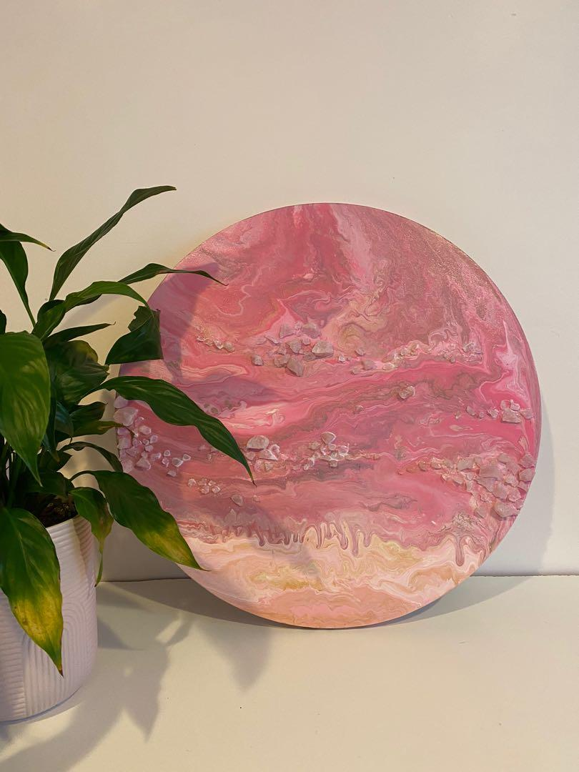 Hand painted marble canvas with real crystals