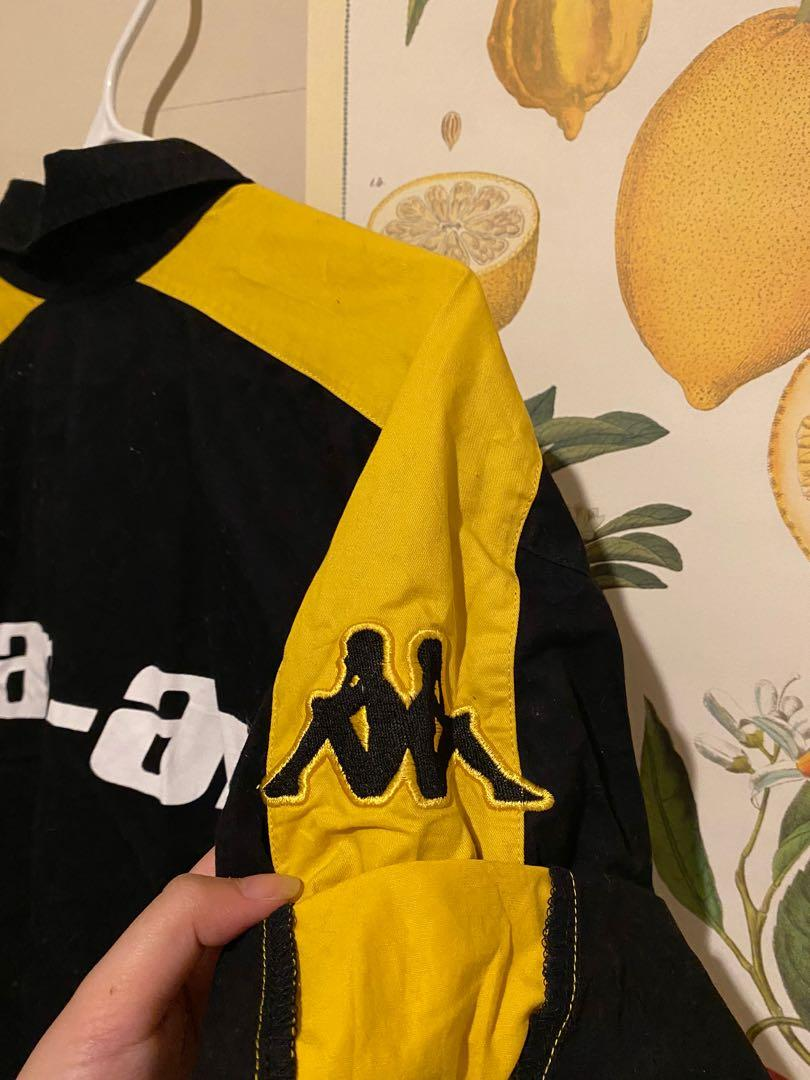 Kappa Go Fas Racing Team Button Down Shirt | Black and Yellow | Size XL