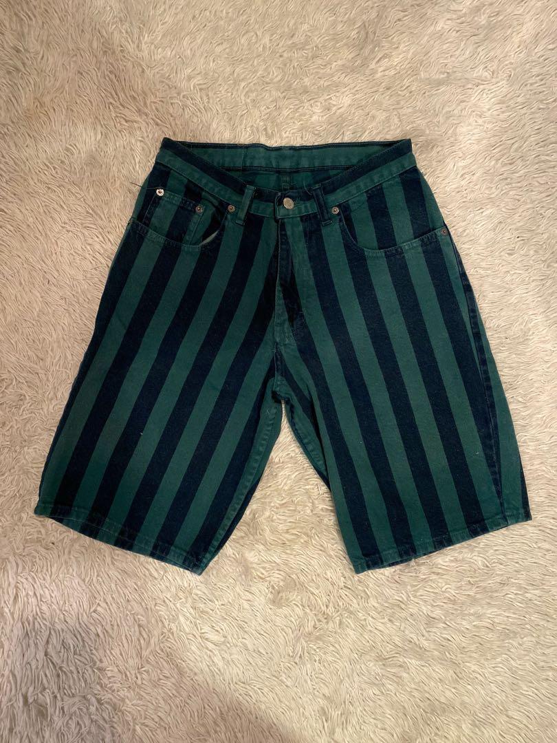 Nuovo Jeanswear Striped Denim Bermuda Shorts | Green and Navy | Size 28