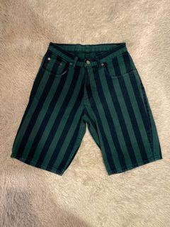 Nuovo Jeanswear Striped Denim Bermuda Shorts   Green and Navy   Size 28