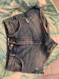 Zara High Waisted Denim Shorts (2)