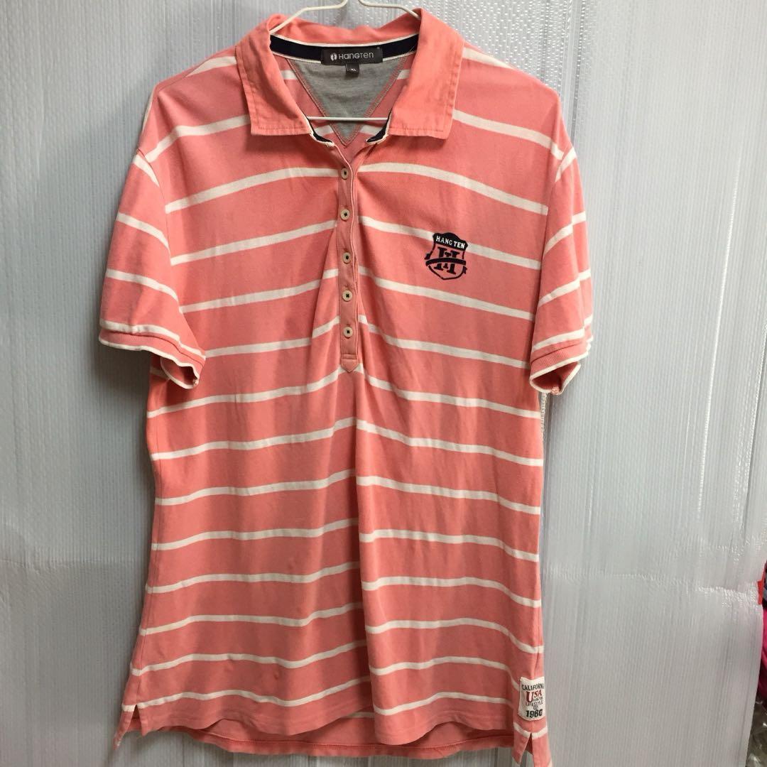 巴4#單身狗橘色品牌橫條polo上衣