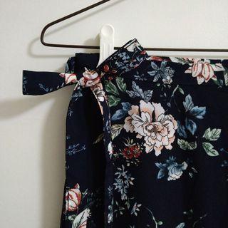滿滿印花紋一片裙 長裙 夏日遮陽裙 深藍色