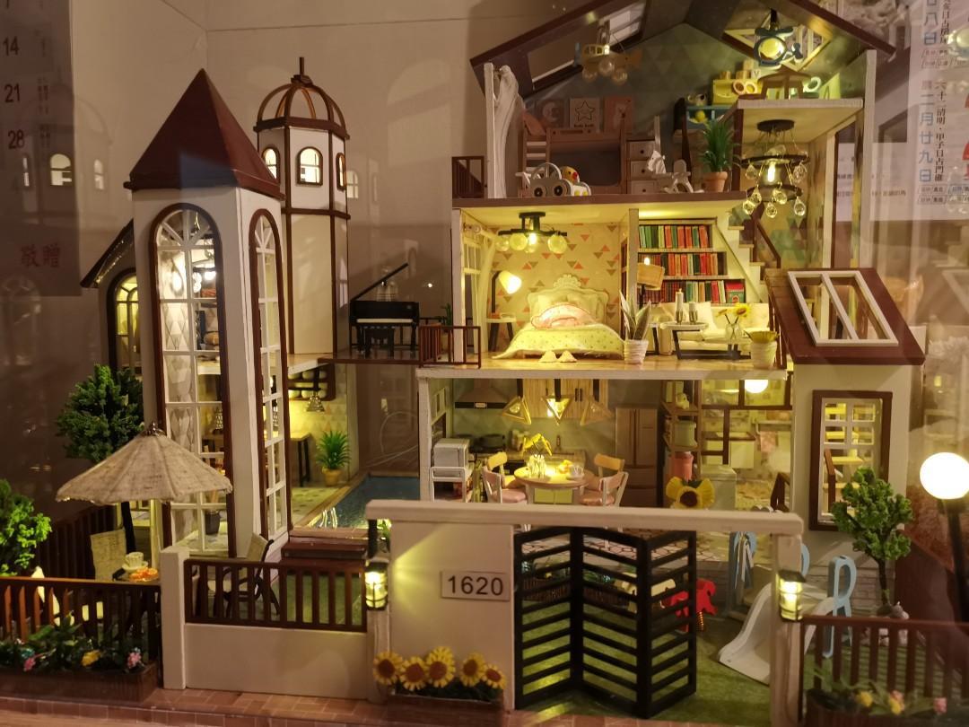 手工代做 花好月圓 附音樂 交換禮物 DIY手作 生日禮物 迷你屋 模型屋 溫馨小屋 那家 DIY小屋 娃娃屋