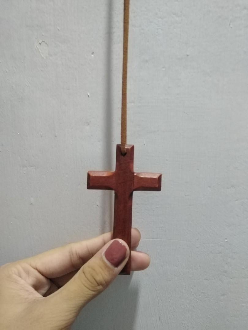 木質十字架吊飾  棕色 #HB8