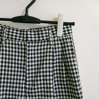 日系品牌 Rope Picnic 經典黑白格紋七分寬褲 附腰帶