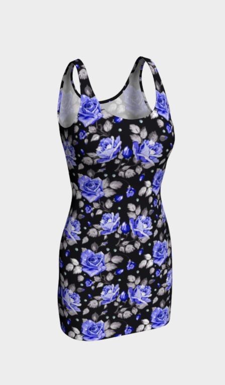 Blue Roses Body-Con Dress