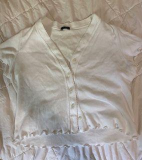 BRANDY MELVILLE white button up ruffle top