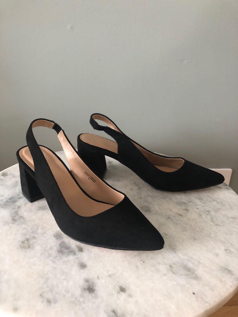 Dynamite Sz 6 - sling back block heel