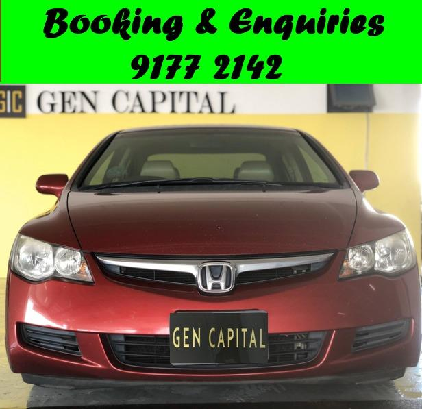 Honda Civic. RED.Promotion price for 1st month while stock last.Cheap Car Rental. $500 deposit only. Whatsapp 9177 2142 to reserve. LAST UNIT