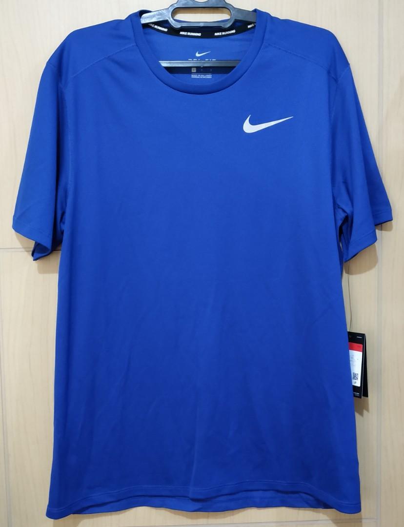 Kaos Olahraga Lari Pria Biru Nike Running Original Dri Fit Blue Size L