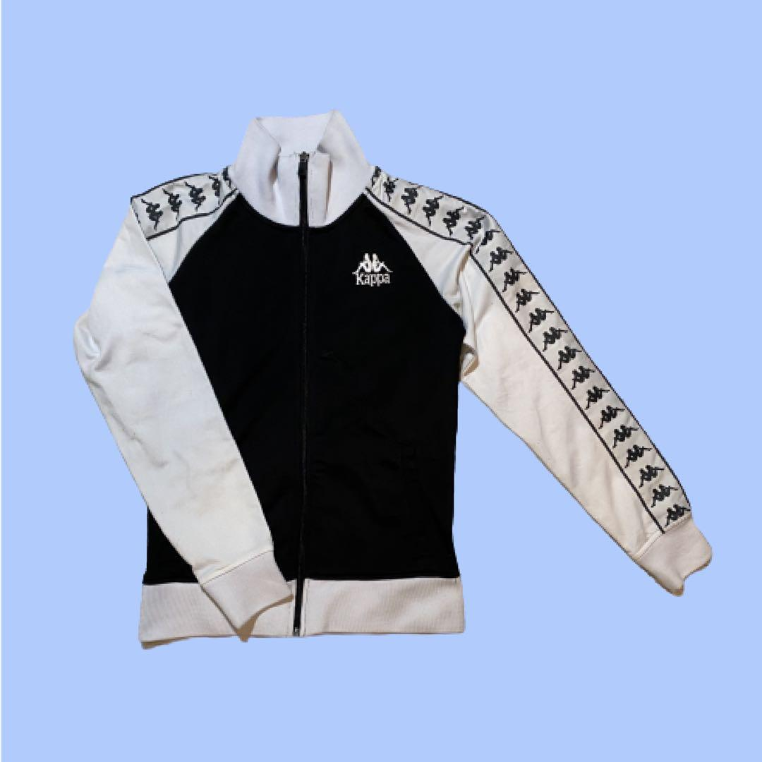 Kappa Full Zip Sweater | Black and White | Size L