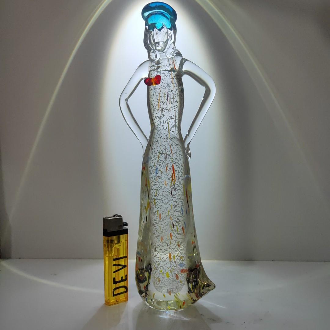 Patung lady kristal Bohemia pajangan antik