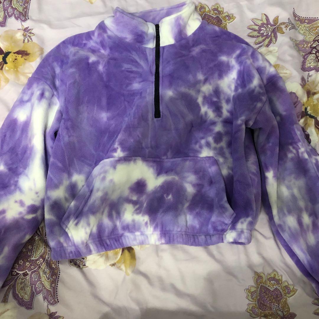 Tie dye zip up sweater