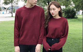 Unisex red wine round neck knit sweater mixxmix korean