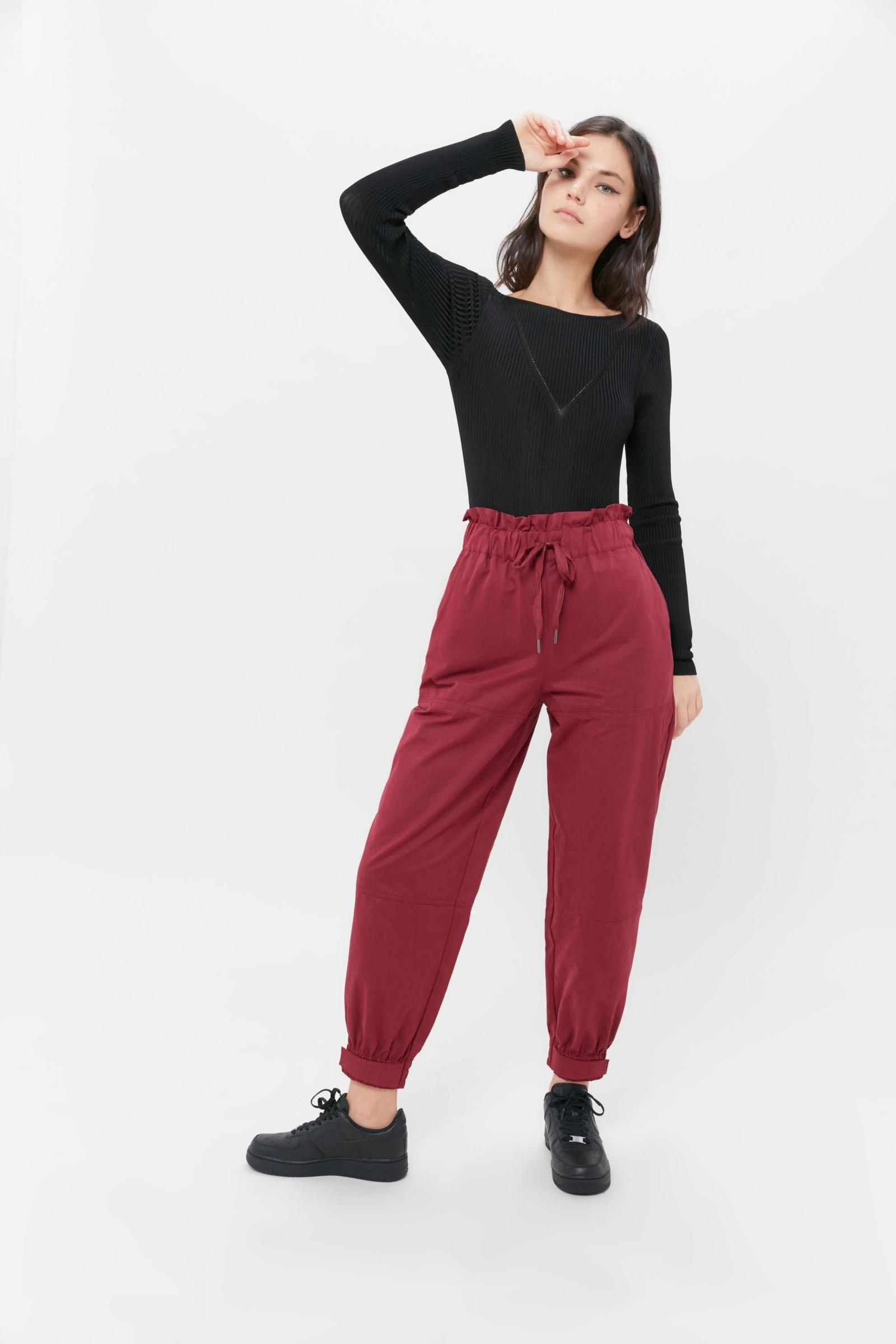 URBAN OUTFITTERS magenta paper bag pants
