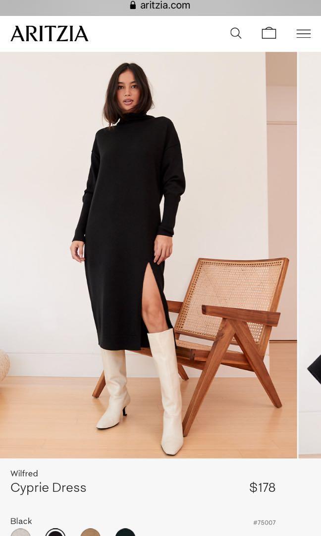 Aritzia Wilfred cyprie dress black xxs