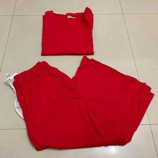 [二手僅下水]‼️全賣場🈵️500免運‼️ 女生 紅色下擺開叉背心+鬆緊寬褲套裝