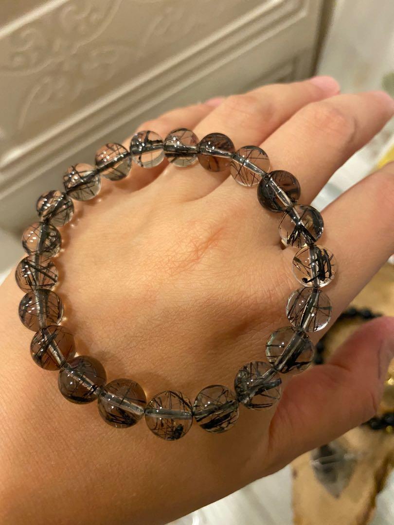 療癒水晶 能量寶石💎 黑髮晶 手珠