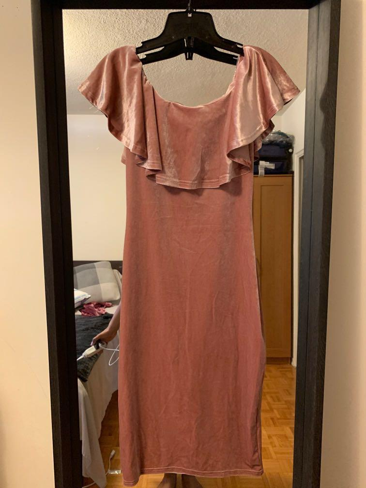 Carnartion Pink Velvet Dress