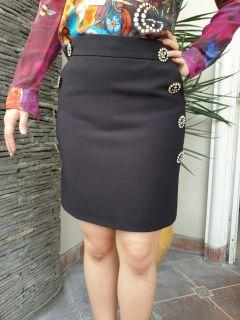 Chantal Outlet Shop - Black Navy Button Skirt 29 - Rok Wanita/Rok Hitam/Rok Mini
