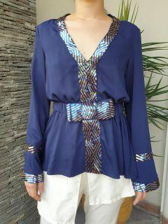 Chantal Outlet Shop - Blue Ribbon Sequin Blouse 27 - Blus Wanita/Atasan Wanita/Baju Wanita