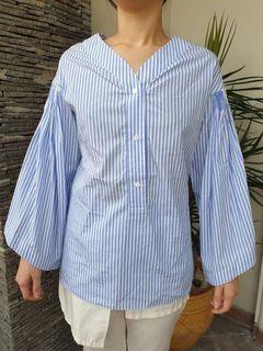Chantal Outlet Shop - Blue Striped V Neck Shirt 24 - Kemeja Wanita/Atasan Wanita/Blus Wanita