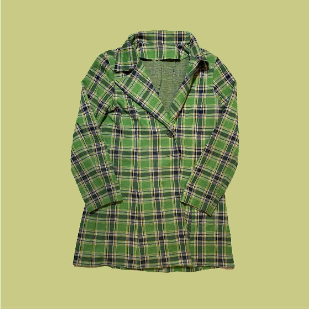Green Plaid Blazer Dress