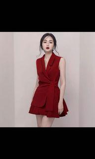 Jumpsuit formal maroon merah red korean brand zara