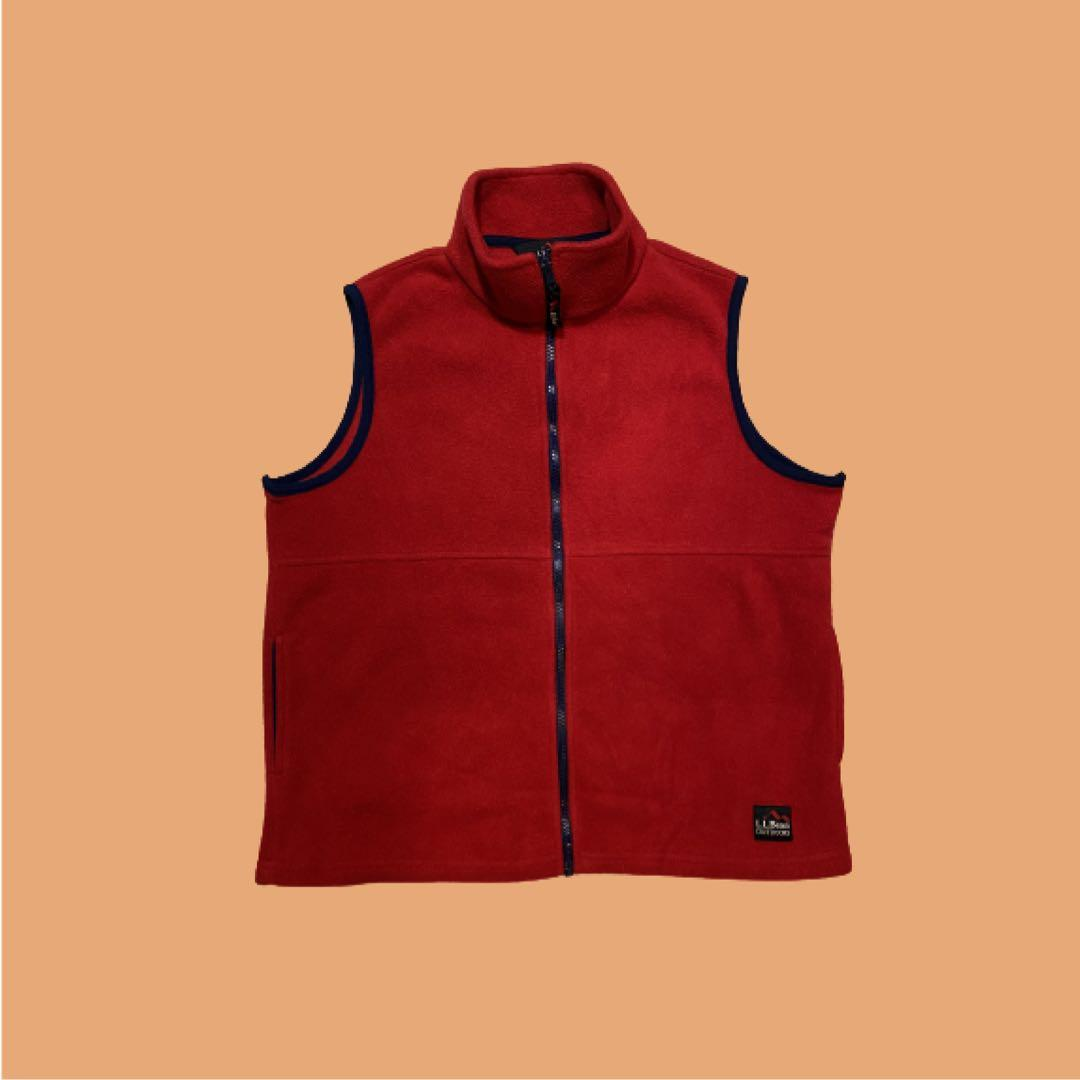 L.L.Bean Outdoors Fleece Zip-Up Vest   Red   Size M