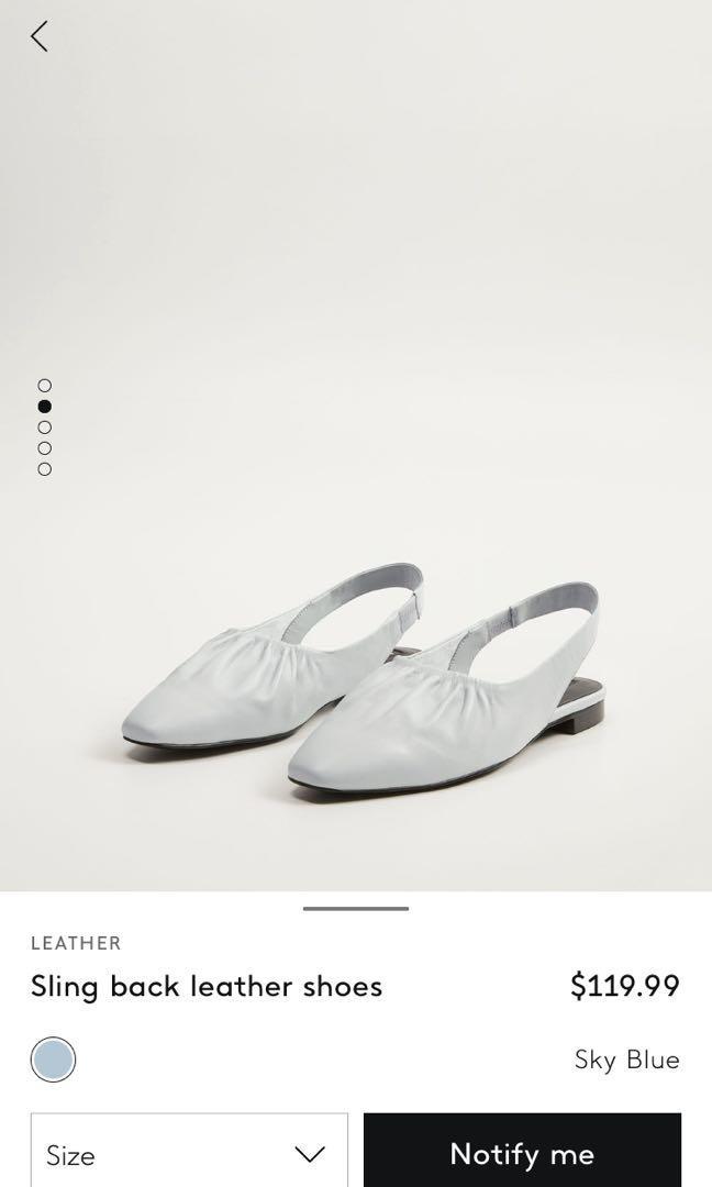 Mango Sling Back Leather Shoes