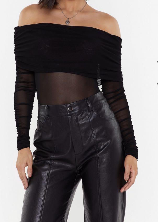 Mesh off the shoulder long sleeve bodysuit