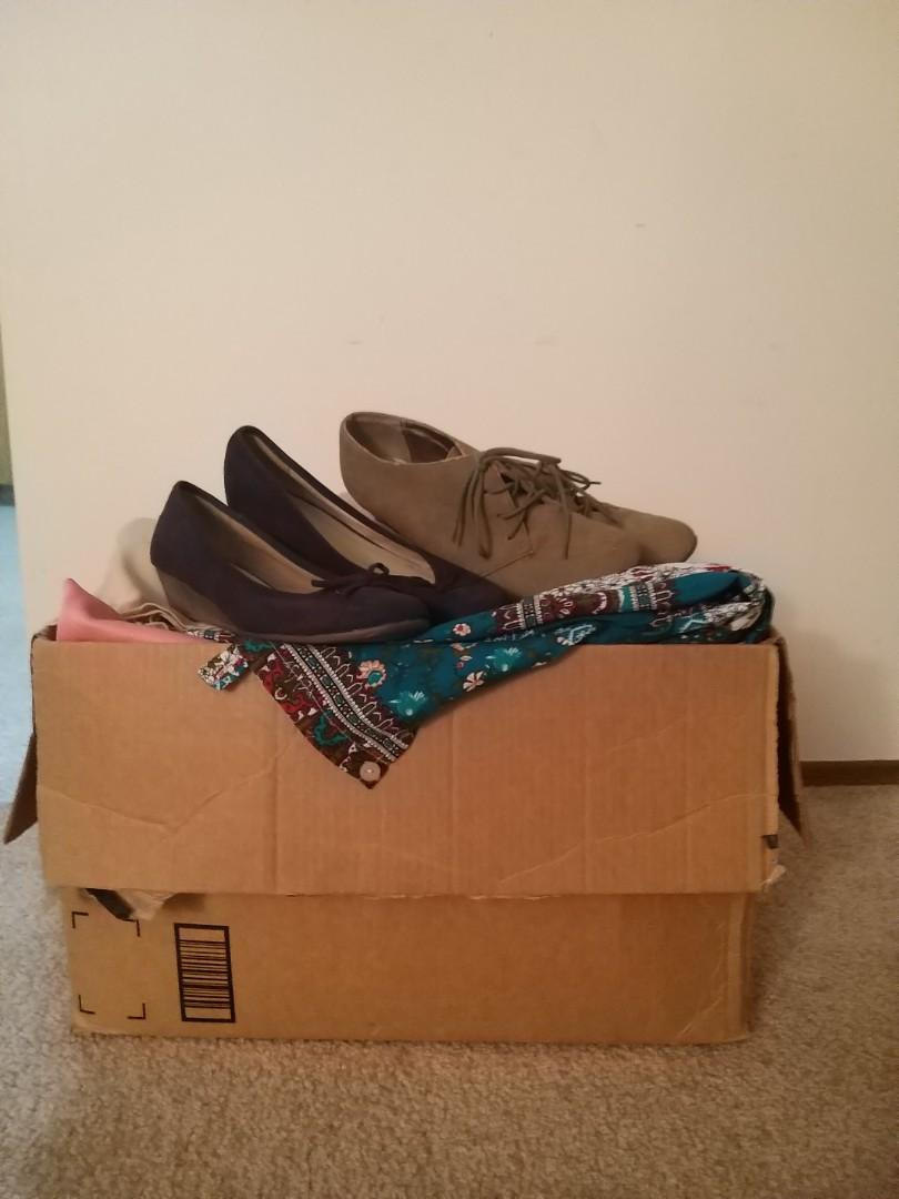 Mystery Clothing $ Shoes  Box - women's size M and shoes size 9
