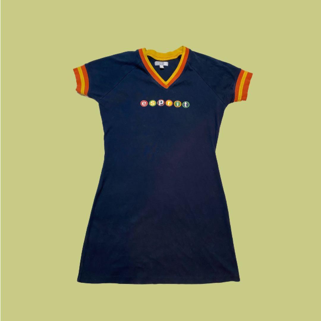 Vintage ESPRIT Skater Dress   Navy and Orange   Size S