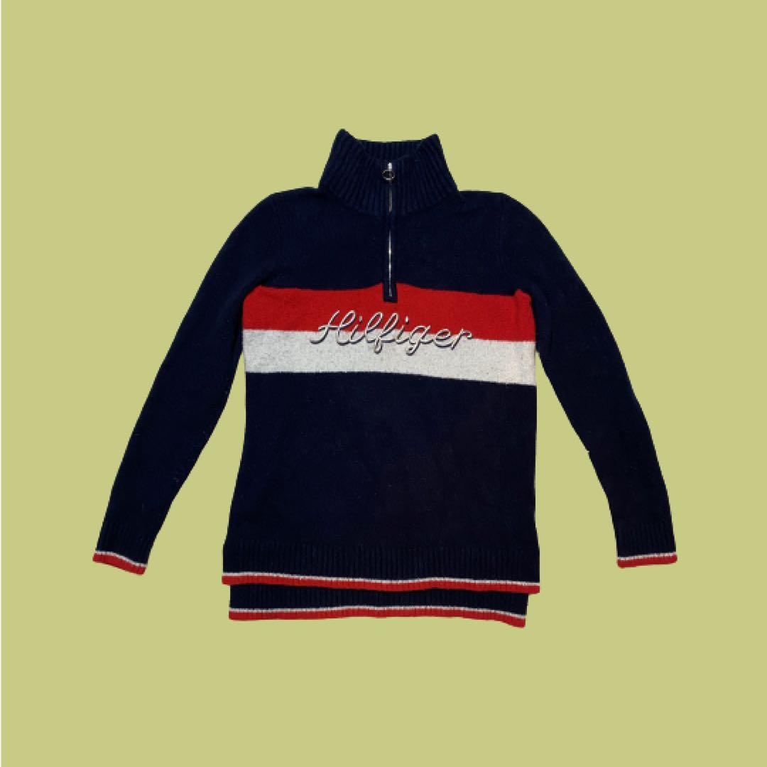 Vintage Tommy Hilfiger Quarter-Zip Fleece Sweater | Navy and Red | Size S