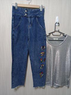 (台灣設計師品牌)原價:5580 EckoMit雙扣手工縫珠高腰牛仔褲