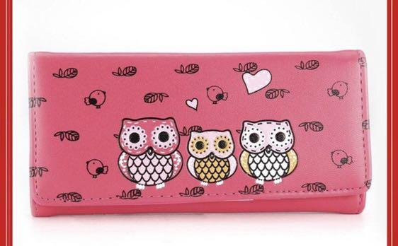 桃紅色長皮夾🦉🦉可愛貓頭鷹🦉少女風有內層