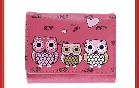 可愛貓頭鷹🦉桃紅色短皮夾❤️❤️玫瑰紅色