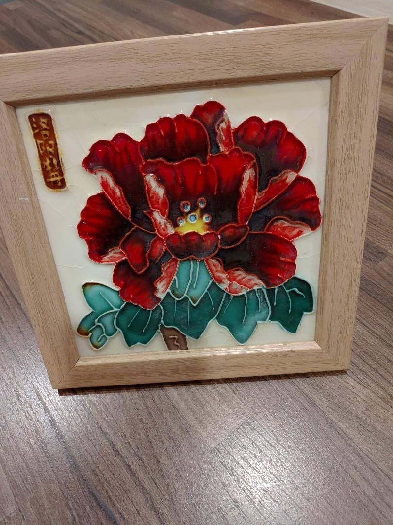 洛陽牡丹陶瓷木框