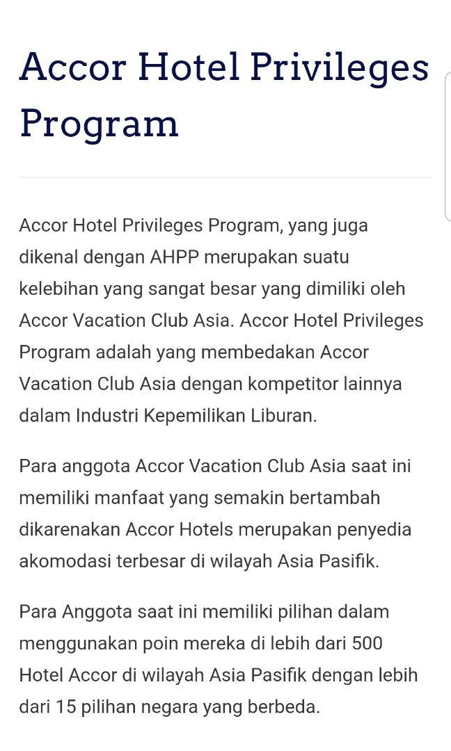 Accor Vacation Privilege Club Membership