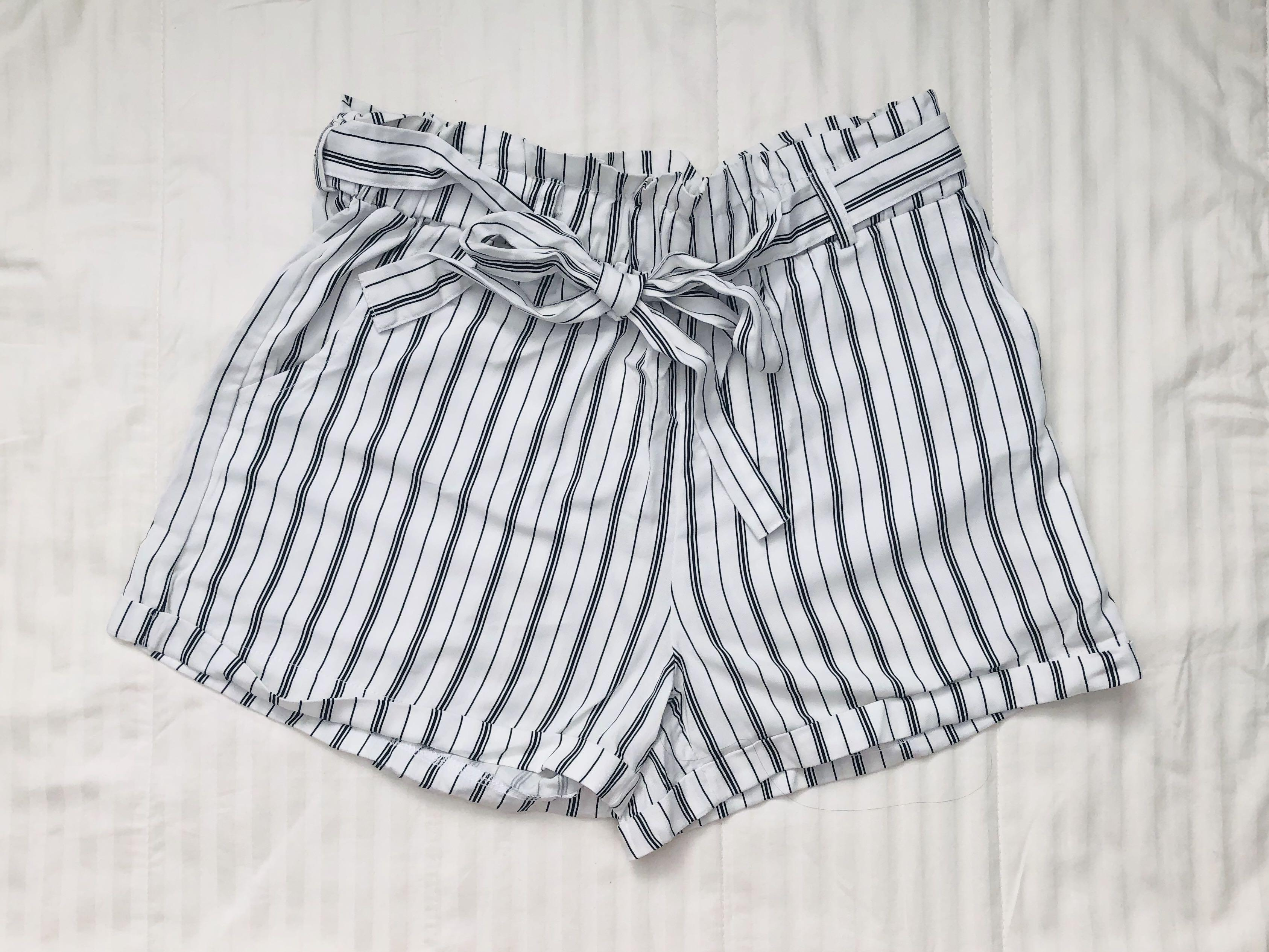 Ardene Striped Paperbag Shorts