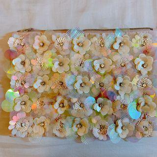 ASOS 立體花朵手拿包 亮片細節 粉色