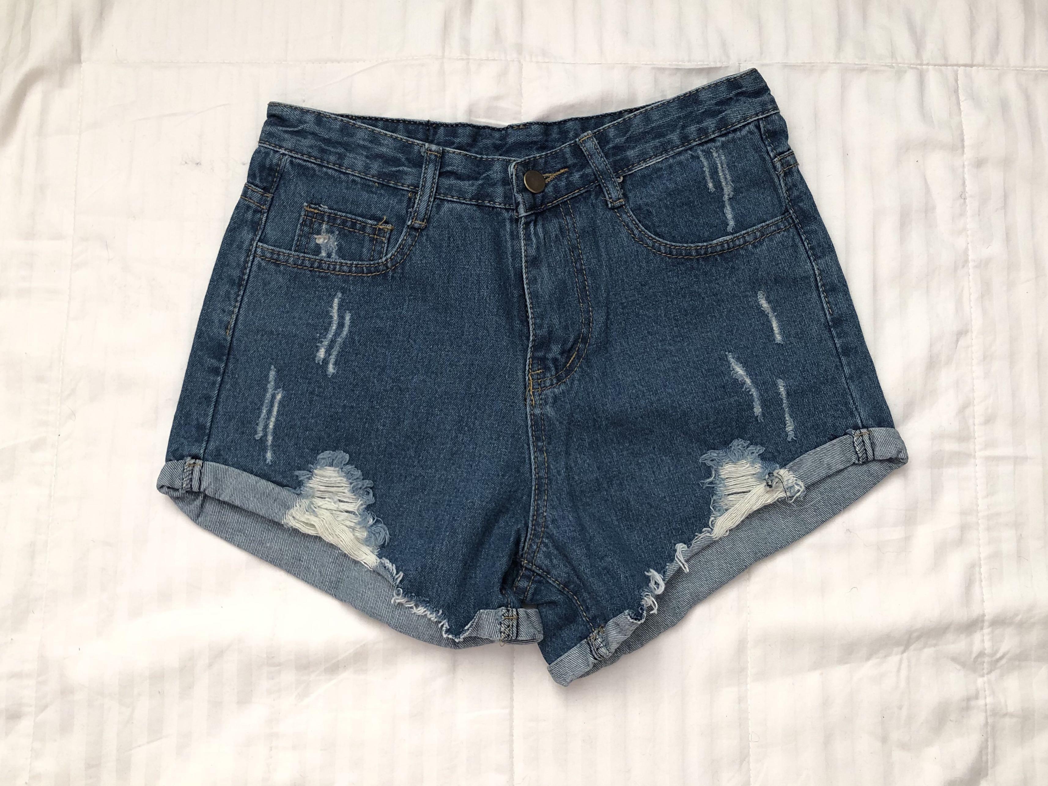 Blue Distressed High Waisted Denim Shorts