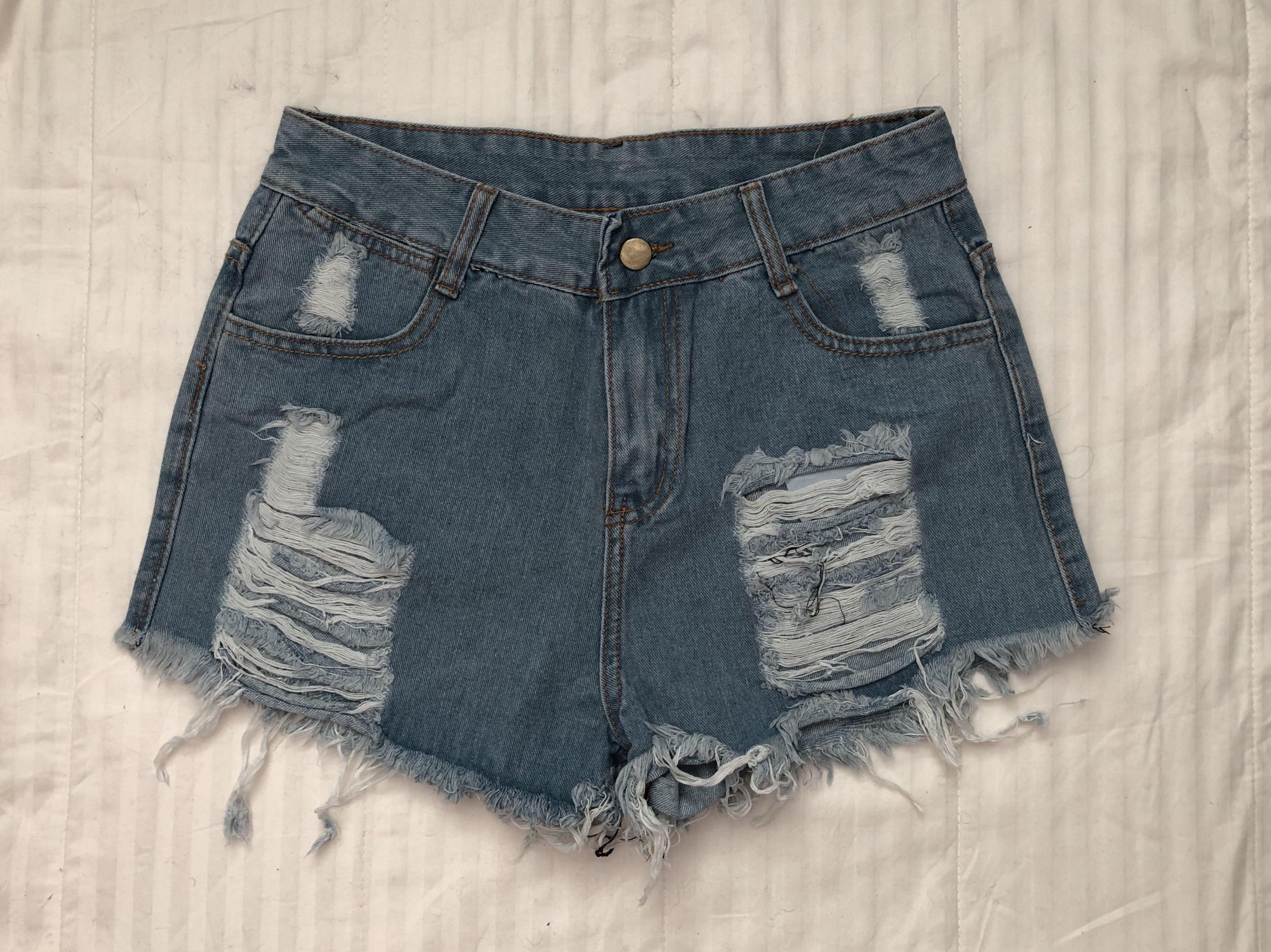Blue High Waisted Distressed Denim Shorts