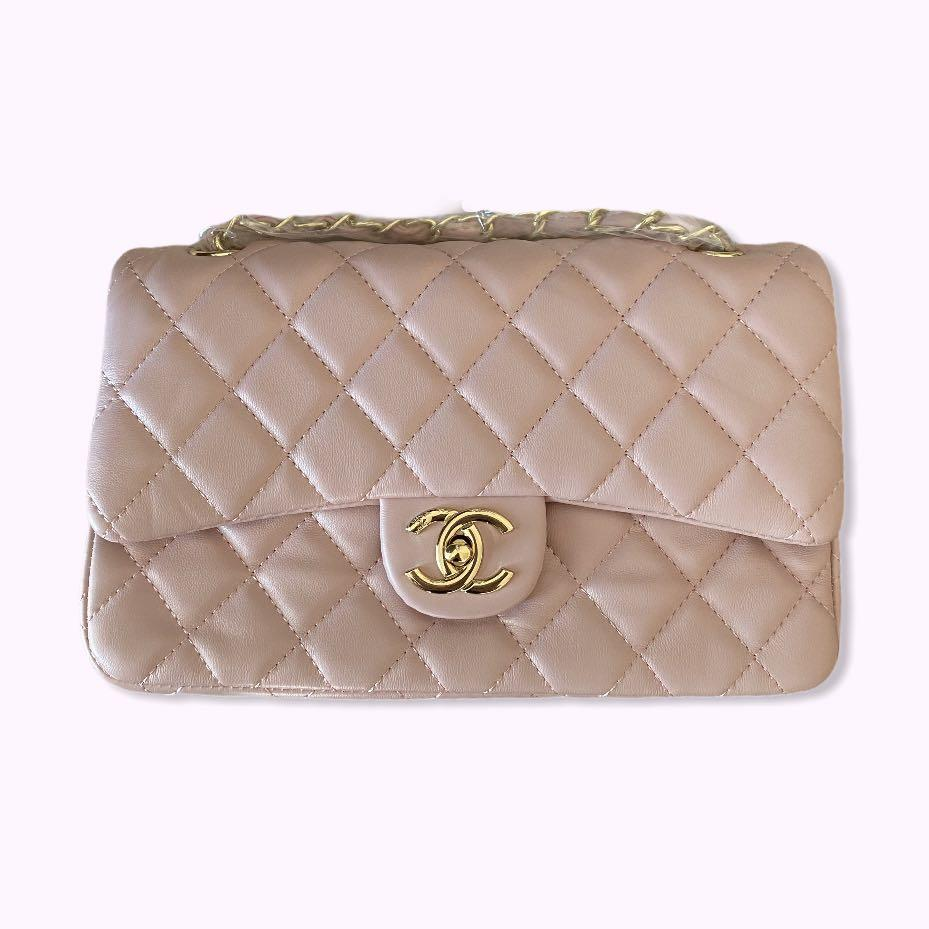 Chanel Dupe: CC Double Flap Sheepskin Baby Pink Purse