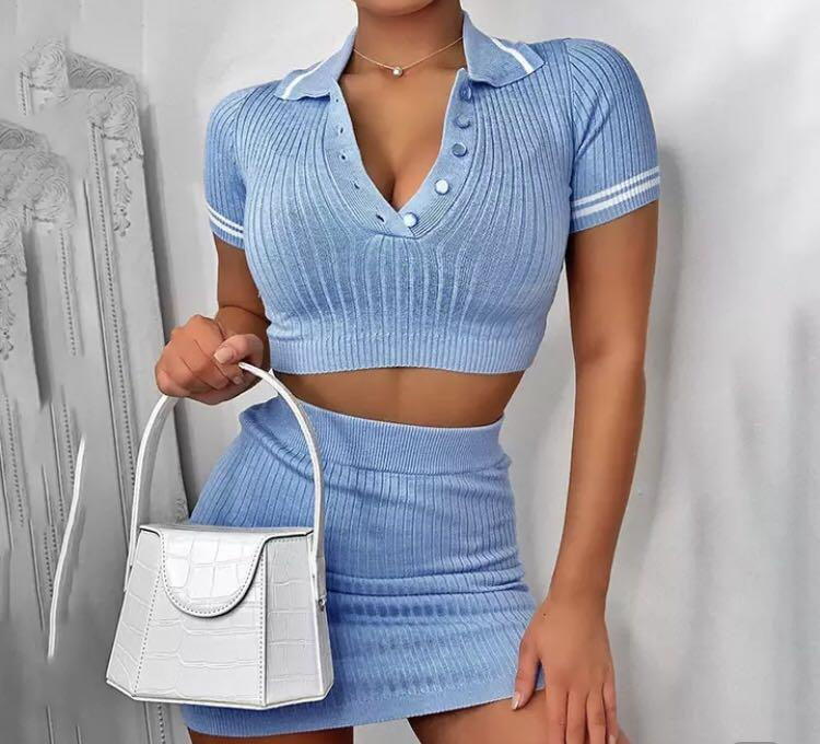 Cute baby blue sporty collared athleisure  two piece set