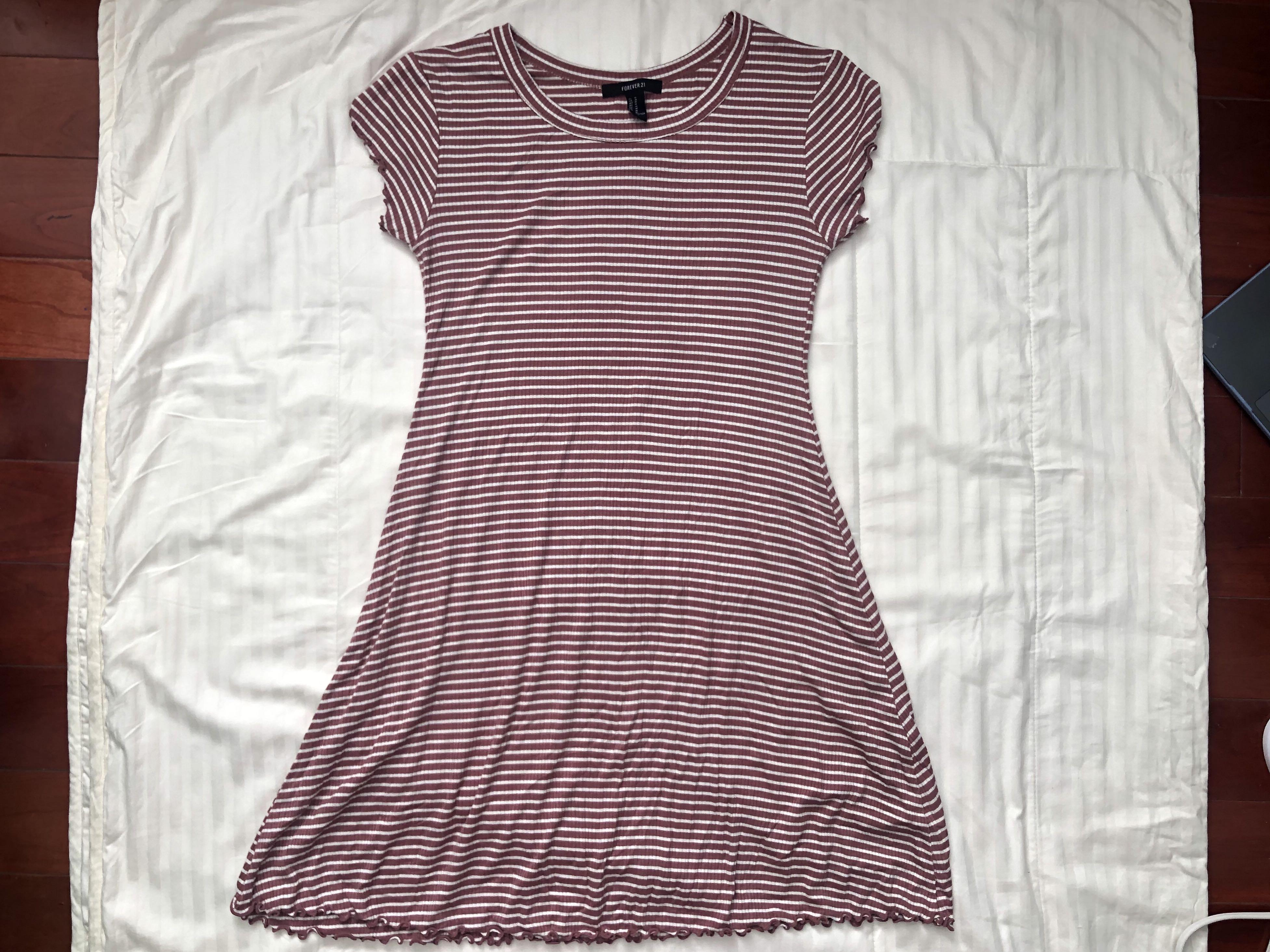 Forever 21 Mauve Striped Short Sleeve Dress