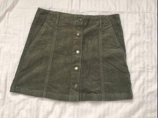 Forever 21 Olive Green Corduroy Skirt