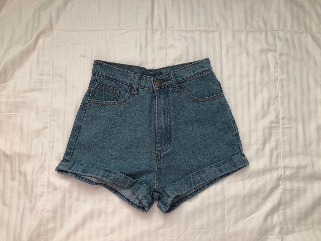 High Waisted Denim Mom Shorts