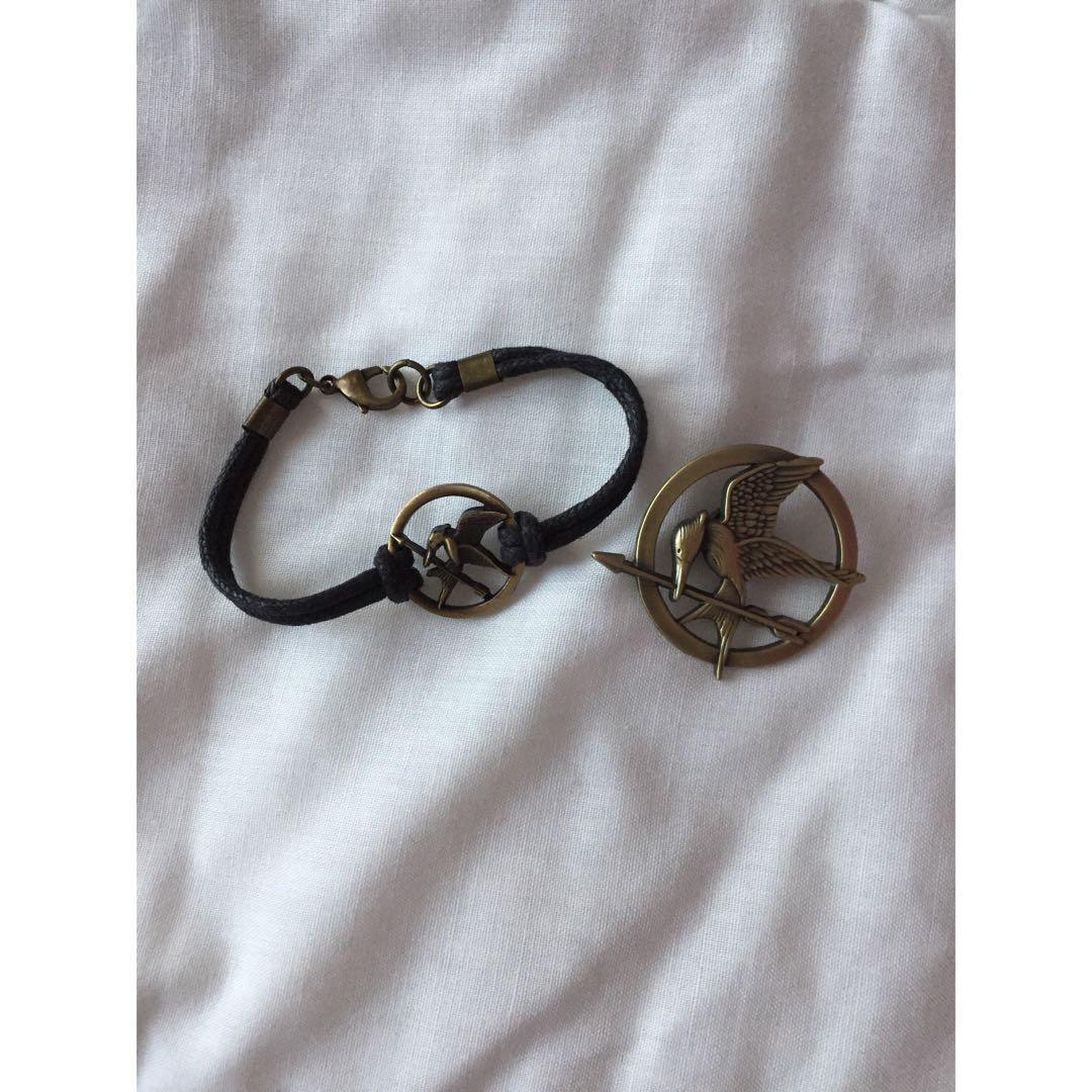 Hunger Games Pin + Bracelet